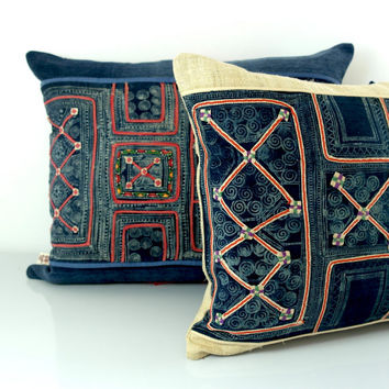 hmong cushion - vintage hmong batik cushion, pillow case, cushion cover