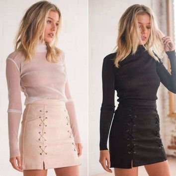 Women Lady  High Waist Zipper Leather Skirt Lace Up Suede Leather Mini Skirt US