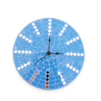 Blue modern wall clock mosaic with mirror spring home makeover decor sky sea