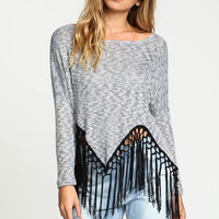 GREY TASSEL KNIT TOP