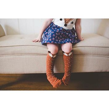 Cotton Baby Leg Warmers 1 Pair Unisex Baby Girl&Boy Knee High Fox Socks Kids Cute Cartoon Socks baby socks