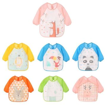 Cute Baby Bibs Waterproof Long Sleeve Apron Children Feeding Smock Bib Burp Clothes Soft Eat Toddler Feed Clothing