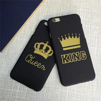 King & Queen Couple Crown Phone Case Cover for iphone X 5 5S SE 6 6S 7 8 Plus