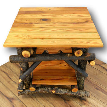 Large Side Table, Reclaimed Wood Table, Rustic End Table, Rustic Furniture, Rustic table, Table with Shelf, Media Table, Wood Furniture, Log