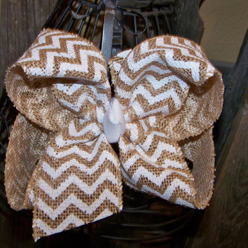 Big White Chevron Burlap Extra Large Hair Bow/ extra large hair bow / big hair bow / girls hair bow / large hair bow /white chevron hair bow