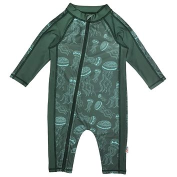 "Sunsuit - Boy Long Sleeve Romper with UPF 50+ UV Sun Protection | ""Jelly Jellyfish"""