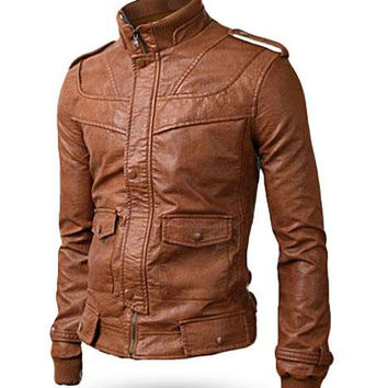 Handmade Men brown leather jacket with front ziper men biker leather jacket, men's brown leather jacket. leather jackets in men