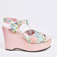 pink pastel floral peeptoe wedge stacked platform strappy mary jane RARE 1930s 1940s shoes vintage