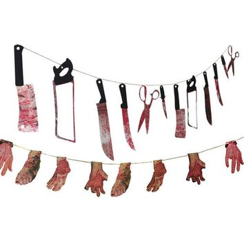 ONETOW 1 Spooky Halloween Party Haunted House Hanging Garland Pennant Banner Decoration  NB0440