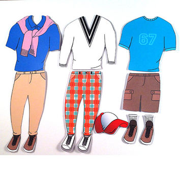 Paper Doll Magnetic Clothes - Prep Theme Kit 1 for Studly Steve