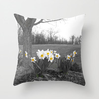 Black and White Daffodil Pillow, Spring Pillow, Floral Pillowcase, Photo Pillow Case, Pretty Pillowcase,16X16 Botanical Pillow Cover, 18X18