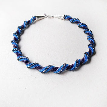 Bead crochet necklace, rope - Blue waves Violet Spiral Beadwork