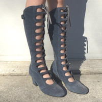 size 6 / 1960s grey suede go go boots with front cut outs