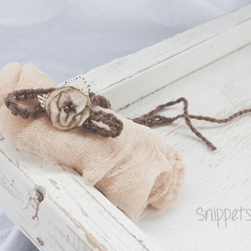 Rustic Tieback and wrap - tea stained, newborn props, photography props, wraps, headbands