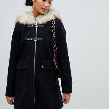 Miss Selfridge duffle coat with faux fur trim hood in black | ASOS