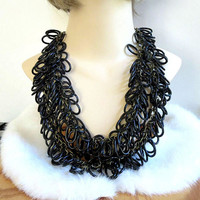 Black Lucite Ovals Necklace Vintage Multi-strand on Copper Chains signed Joan Rivers