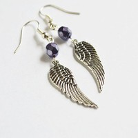 Guardian Angel Earrings Angel Wing Bohemian Purple by LOVEnLAVISH