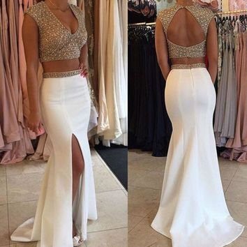 Sexy V Neck Accented Beading Open Back Crop Top Mermaid Side Split Long Satin 2 Two Pieces Prom Party Dresses Vestido De Festa