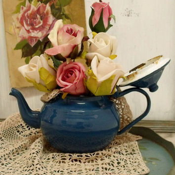 Vintage rusted Grandma enamel Teapot shabby decor Cottage country decorative metal Blue tea pot