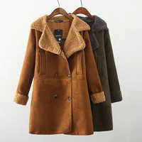 Long-Sleeve Lapel Double Breasted Faux Suede Leather Coat