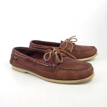 Leather Boat Shoes Vintage 1980s Foot Joy Brown Lace up Boat Shoes men's