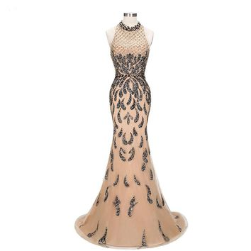 Luxury Champagne Mermaid Evening Dresses Elegant high neck Sleeveless Sexy Formal Crystal Beading Party Long Prom Dresses