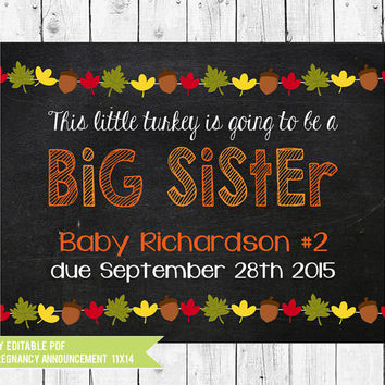 Thanksgiving Pregnancy Announcement // Big Sister Announcement // Fall Pregnancy Announcement // PDF you edit with ADOBE READER