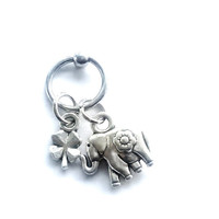 316L Surgical stainless steel captive ring Helix, cartilage, earring with tiny elephant and lucky four leaf clover charm