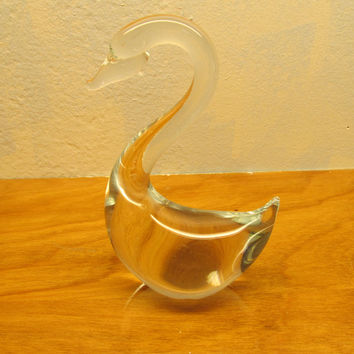 VINTAGE CLEAR GLASS SWAN PAPERWEIGHT