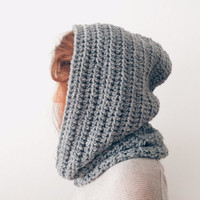 Grey Chunky Hood Winter Hat Hooded Scarf
