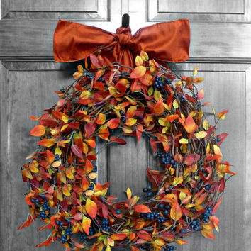 Fall Leaves Wreath, Orange and Red Wreaths, Fall Etsy Wreaths, Autumn Decor, Thanksgiving, Door Decorations, Front Door Wreath