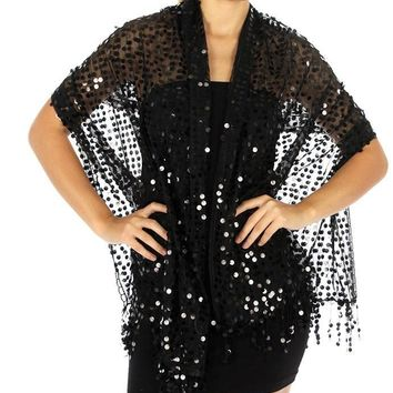 Viva La Voom Sequin Party Shawl Black