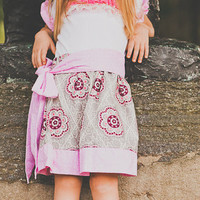 Girls Bow Sash Twirl Skirt - Little Girl Skirt - Baby Skirt - Twirl Skirt - Bow Sash-Pink and Grey