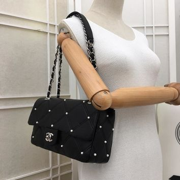 New CHANE BLACK Double C Women Leather silver and gold on Chain cross body bag Chane vintage Chanl jumbo Fashion Handbag Neverfull Tote Shoulder Bag Wallet Messenger Bags