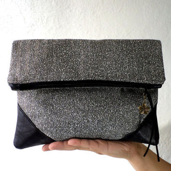 Vegan Clutch, handbag, fold over clutch, FAUX LEATHER, faux black leather, black,white and gold herringbone, lightweight.