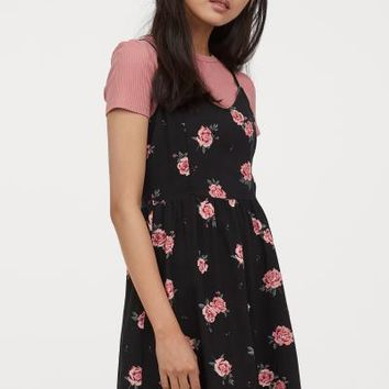 Short Dress - Black/roses - | H&M US