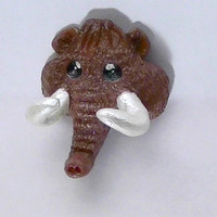 Cute Woolly Mammoth Polymer Clay Magnet