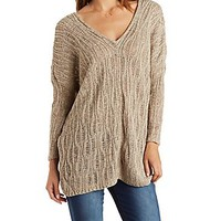 V-NECK LACE-UP SWEATER