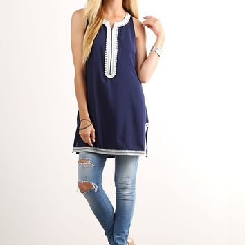 Navy Embroidered Tunic Tank