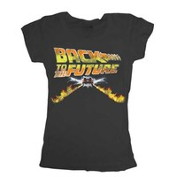 Back to the Future Flames Black Juniors T-shirt