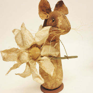 Extreme Primitive Daisy Mouse - Made To Order, Primitive Animals, Country Farmhouse Decor