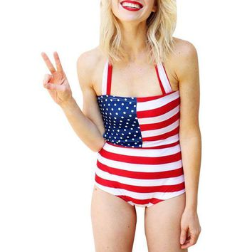 ONETOW Brazilian Bikini 2017 Swimwear Women Print American Flag One Piece Plus Size XL Swimsuit Beachwear Biquinis #ES