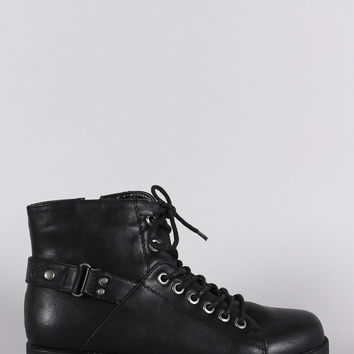 Bamboo Round Toe Combat Lace Up Flat Ankle Boots