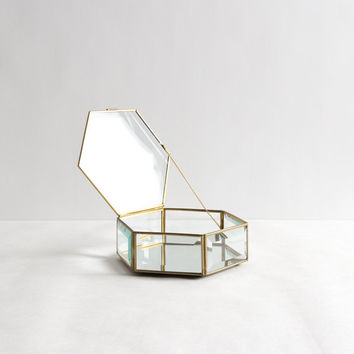 Vintage Mirror, Glass, and Brass Geometric Display or Jewelry Box