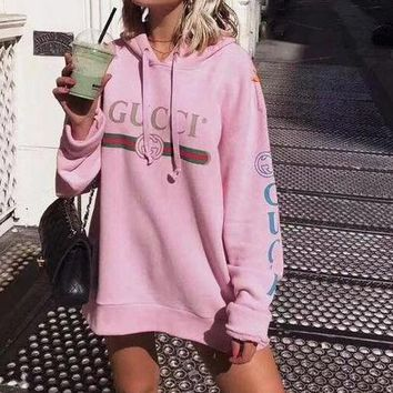 GUCCI HOT SALE  letters printed loose long sleeve sweater hoodie pink
