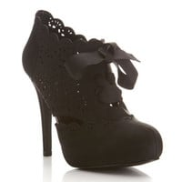 Simples Black Laser Cut Heel - Shoes