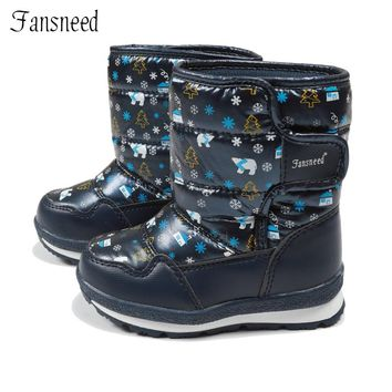 Fansneed Children Snow Boots Girls Pure Wool Warm Winter Boots Waterproof Cute Print Leather Shoes Warm -30 Degree Winter