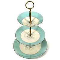 Vintage 3 Tier Serving Tray, Cupcake Stand, Petite Four Plate, Blue and White China with Brass Holder, Perfect for High Tea Party