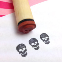 Tiny Skull Rubber Stamp