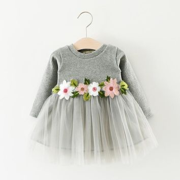 Baby Girls Dress 2017 Fashion Autumn Casual Baby Clothes Long Sleeve Lace dress Pendulum With Flower Dress Girls Clothes